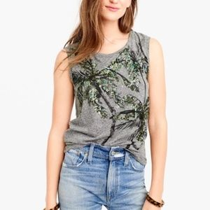 J. Crew Sequin Palm Tree Muscle Tank